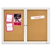 Enclosed Bulletin Board, Natural Cork/Fiberboard, 48 x 36, Silver Aluminum Frame