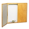 Quartet Marker Board Cabinet w/ Screen, Porcelain/Steel, 48 x 48 x 24, White/Oak Frame