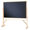 Quartet Reversible Chalkboard, 72 x 48, Black Surface, Oak Frame