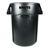 Rubbermaid Commercial Brute Vented Trash Receptacle, Round, 44 gal, Black