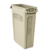 Rubbermaid Commercial Slim Jim Receptacle w/Venting Channels, Rectangular, Plastic, 23gal, Beige