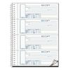 Spiralbound Unnumbered Money Receipt Book, 7 x 2 3/4, Three-Part, 120 Sets/Book