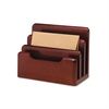 Rolodex Wood Tones Desktop Sorter, Three Sections, Wood, Mahogany