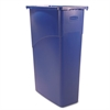 Rubbermaid Commercial Slim Jim Waste Container, Rectangular, Plastic, 23gal, Blue
