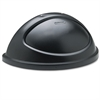 Rubbermaid Commercial Untouchable Plastic Half-Round Lid, 21 3/8 x 12 3/8 x 9 1/8, Black
