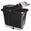 Rubbermaid Commercial Metal Frame Cube Truck, Rectangular, Polyethylene, 400lb Cap, 12 cu. ft., Black