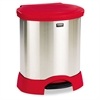 Rubbermaid Commercial Step-On Container, Oval, Stainless Steel, 23gal, Red