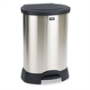Rubbermaid Commercial Step-On Container, Oval, Stainless Steel, 30gal, Black