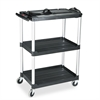 Rubbermaid Commercial MediaMaster Three-Shelf AV Cart, 18-5/8w x 32-1/2d x 42-3/8h, Black
