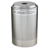 Rubbermaid Commercial Silhouette Can/Bottle Recycling Receptacle, Round, Steel, 26gal, Silver