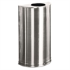 Rubbermaid Commercial European & Metallic Open Top Receptacle, Half-Round, 12gal, Satin Stainless
