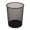 Steel Mesh Wastebasket, Round, 5gal, Black, 6/Carton
