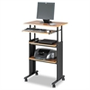 Safco Adjustable Height Stand-Up Workstation, 29w x 22d x 49h, Oak/Black