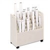 Safco Laminate Mobile Roll Files, 50 Compartments, 30-1/4w x 15-3/4d x 29-1/4h, Putty