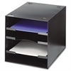 Steel Desktop Sorter, Four Compartments, Steel, 11 x 12 x 10, Black