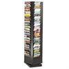 Safco Steel Rotary Magazine Rack, 92 Compartments, 14w x 14d x 68h, Black
