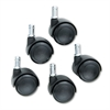 Safco TaskMaster Hard Floor Casters, Black, 5/Set
