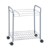 Safco Rolling Project File Rack, 12 Hanging Clamps, 21 x 13 3/4 x 24 3/4, Light Gray