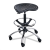 "Safco Sit-Star Stool With Footring and Casters, 27"" to 36""h Seat, Black/Chrome"