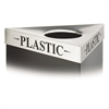 "Safco Triangular Lid For Trifecta Receptacle, Laser Cut ""PLASTIC"" Inscription, STST"