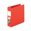 "Clean Touch Locking Round Ring Reference Binder, Antimicrobial, 3"" Cap, Red"