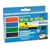 Vis-à-Vis Wet-Erase Marker, Chisel Point, Assorted, 4/Set