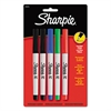 Sharpie Permanent Markers, Ultra Fine Point, Assorted Colors, 5/Set