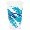 SOLO Cup Company Jazz Waxed Paper Cold Cups, 16oz, Tide Design, 1000/Carton