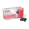 "ACCO Mini Binder Clips, Steel Wire, 1/4"" Cap, 1/2""w, Black/Silver, Dozen"