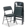Cosco Deluxe Fabric Padded Seat & Back Folding Chairs, Cavallaro Black, 4/Carton