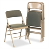 Cosco Deluxe Fabric Padded Seat & Back Folding Chairs, Cavallaro Taupe, 4/Carton
