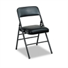 Cosco Deluxe Vinyl Padded Seat & Back Folding Chairs, Black, 4/Carton