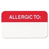 Tabbies Medical Labels for Allergies, 7/8 x 1-1/2, White, 250/Roll
