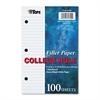 TOPS Filler Paper, 3H, 20 lb, 5 1/2 x 8 1/2, College Rule, White, 100 Sheets/Pack