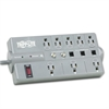 TLP808TELTV Surge Suppressor, 8 Outlets, 8 ft Cord, 2160 Joules, Dark Gray