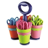 "School Scissors Caddy w/24 Pairs of Kids' Scissors w/Microban, 5"" Blunt"