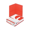 Two-Pocket Portfolio, Embossed Leather Grain Paper, Red, 25/Box