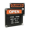 Sign Double-Sided Open/Closed Sign w/Plastic Push Characters, 14 3/8 x 12 3/8