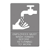 Headline Sign ADA Sign, EMPLOYEES MUST WASH HANDS... Tactile Symbol/Braille, 6 x 9, Gray