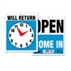 Headline Sign Double-Sided Open/Will Return Sign w/Clock Hands, Plastic, 7 1/2 x 9