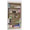 "Contemporary 72""H wood veneer bookcase, Natural Oak"