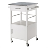 Winsome Wood Davenport Kitchen Cart With Granite Top White, 23.23 x 19.37 x 34.84, White