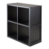 Winsome Wood Shelf 2 x 2 Cube With Wainscoting Panel, 25.63 x 11.81 x 27.05, Black