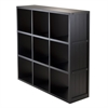 Winsome Wood Shelf 3 x 3 Cube Wainscoting Panel, 37.76 x 11.81 x 40.08, Black
