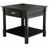 Winsome Wood Timber End Table With One Drawer And Shelf, 21.97 x 22.05 x 21.97, Black