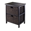 Winsome Wood Omaha Storage Rack With 2 Foldable Baskets, 16.73 x 12.4 x 20.47, Black / Chocolate