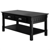 Winsome Wood Timer Coffee Table, Drawers And Shelf, 37.9 x 19 x 17.1, Black