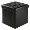 Winsome Wood Ashford Ottoman With Storage Faux Leather, 15 x 15 x 15, Black