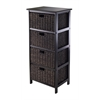 Winsome Wood Omaha Storage Rack With 4 Foldable Baskets, 16.73 x 12.4 x 36.81, Black / Chocolate