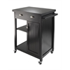 Winsome Wood Timber Kitchen Cart With Wainscot Panel, 27.76 x 19.37 x 34, Black